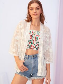Drop Shoulder Embroidered Sheer Kimono