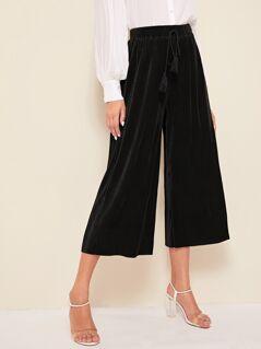Tasseled Drawstring Waist Pleated Culotte Pants