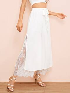 Eyelash Lace Insert Self Belted Wide Leg Pants