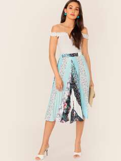 Cut-and-sew Print Pleated Skirt