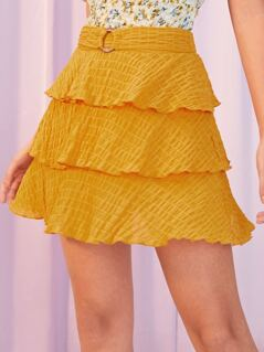 O-ring Detail Waist Tiered Layered Shirred Skirt