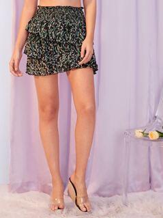 Shirred Waist Layered Ruffle Trim Skirt