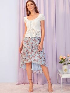 Layered Ruffle Trim Asymmetrical Hem Floral Skirt