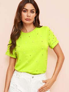 Neon Lime Cuffed Pearls Beaded Top