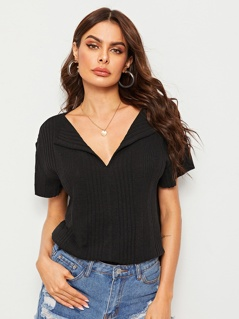 Rib-knit Drop Shoulder Collar Tee