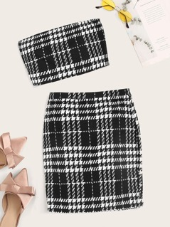 Houndstooth Bandeau Top & Skirt Set