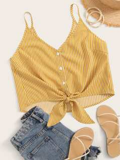 Knot Front Buttoned Striped Cami Top
