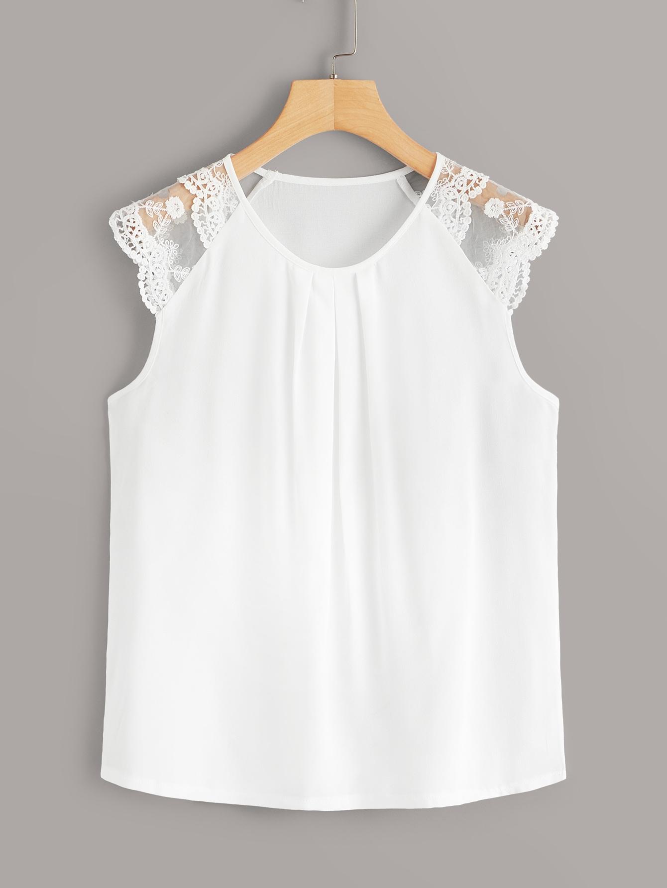 Фото - Однотонная блуза с кружевом от SheIn белого цвета