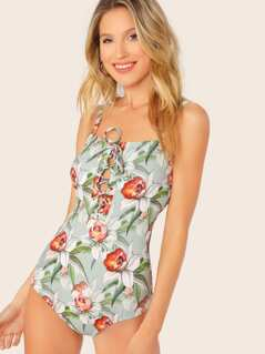 Lace Up Front Floral One Piece Padded Swimsuit