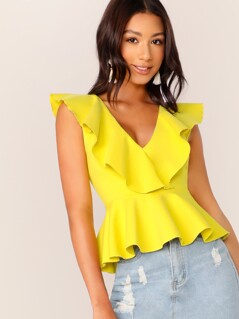Surplice Ruffle V-Neck Peplum Waist Sleeveless Top