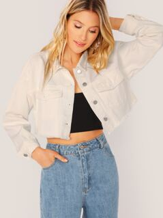 Button Up Raw Hem Crop Denim Jacket