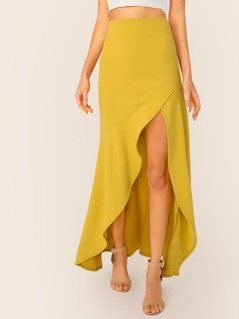 High Low Ruffle Hem Crepe Maxi Skirt