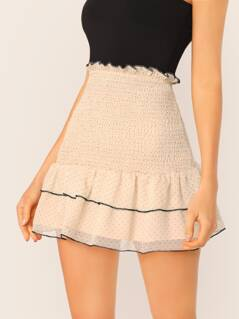 Smocked Waist Polka Dot Chiffon Ruffle Mini Skirt