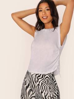 Crew Neck Drawstring Ruched Side Jersey Tank Top