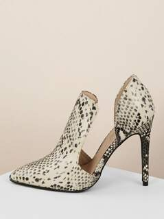 Snakeskin Open Sides High Vamp Pointy Toe Heels