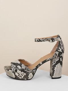 Peep Toe Snakeskin Platform Block Heel Sandals