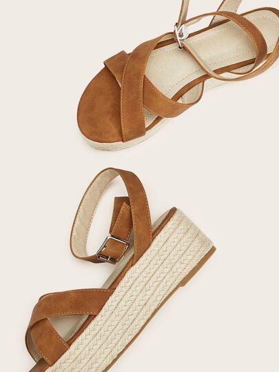 SheIn / Ankle Strap Espadrille Suede Sandals