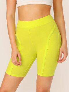 Elastic Waist Neon Ribbed Biker Shorts