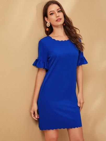 SheIn / Solid Flounce Sleeve Zipper Back Scallop Dress