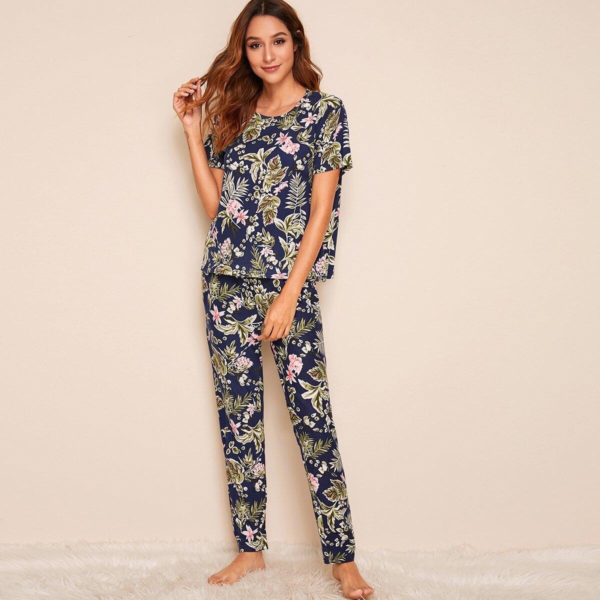 Veel kleurig Casual Bloemen Lounge kleding