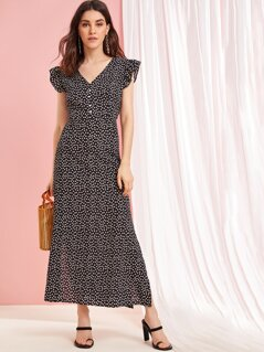 Ditsy Floral Button Front Slit Hem Dress