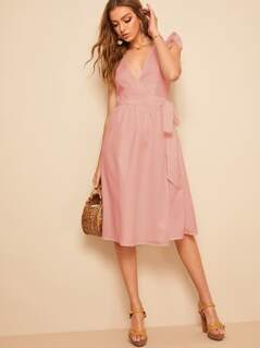 Ruffle Armhole Surplice Neck Knotted Dress