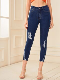 Ripped Detail Crop Jeans