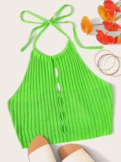 Neon Green Cutout Front Knit Halter Top