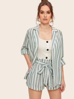 Notched Collar Cuff Sleeve Vertical-stripe Blazer