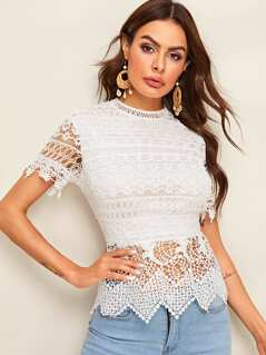 Zip Back Guipure Lace Overlay Top