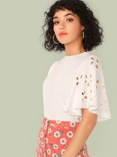 Cut-out Flutter Sleeve Solid Top