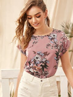 Cuffed Floral Print Top