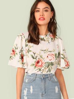 Flutter Sleeve Floral Print Top