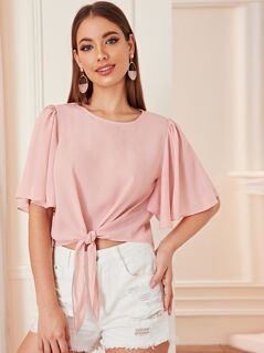 Solid Knot Hem Flutter Sleeve Top