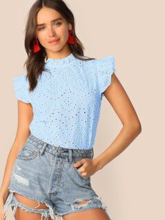 Solid Frill Trim Schiffy Top