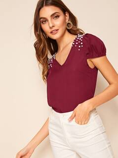 Pearls Beaded Puff Sleeve Top