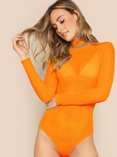 Neon Orange Mock-neck Keyhole Back Bodysuit