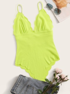 Neon Lime Scallop Trim Tie Back Bustier Cami Bodysuit