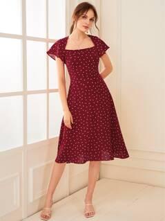 Cutout Tie Back Confetti Heart Print Flare Dress