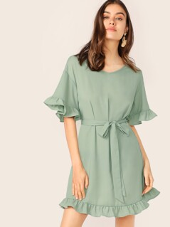 Drop Shoulder Ruffle Hem Belted Dress