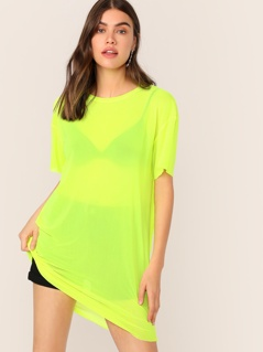Neon Lime Semi Sheer Tee Dress Without Lingerie