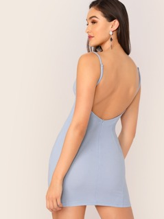 Zipper Fly Backless Bodycon Slip Dress