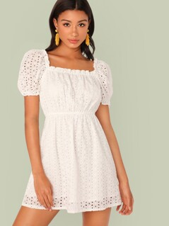 High Waist Frill Trim Schiffy Flare Dress