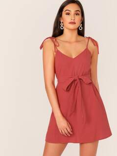 Solid Tie Strap Belted Dress