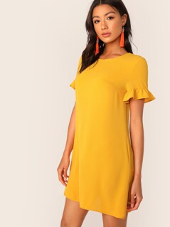 Flounce Sleeve Tunic Dress