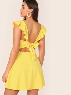 Neon Yellow Tie Back Ruffle Trim Dress