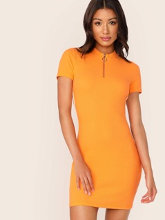 Neon Orange Half Zipper Front Striped Side Pencil Dress