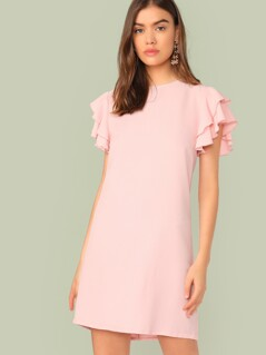 Layered Ruffle Butterfly Sleeve Tunic Dress