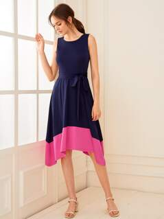 Two Tone Belted Asymmetrical Hem Dress