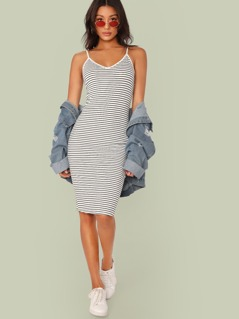 Split Back Striped Ringer Cami Dress